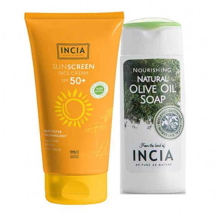 Incia Sun Screen Face Cream SPF50+ 50 ml + Yoğun Nemlendiricili Zeytinyağlı Sıvı Sabun 50ml Hediyeli
