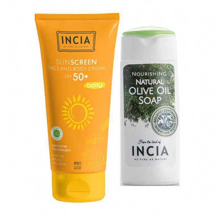 Incia Sun Screen Baby Face and Body Cream SPF50  70 ml -Yoğun Nemlendiricili Zeytinyağlı Sıvı Sabun 50ml Hediyeli