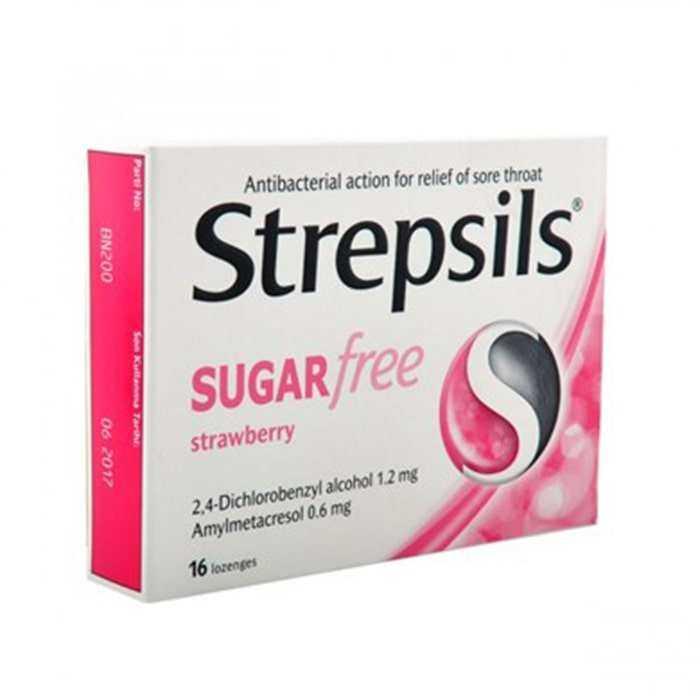 Strepsils Şekersiz Çilek Aromalı 16 Pastil