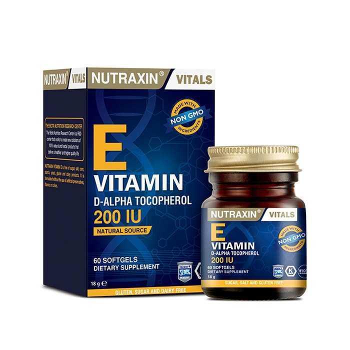 Nutraxin Vitamin-E 200 IU 60 Yumuşak Kapsül