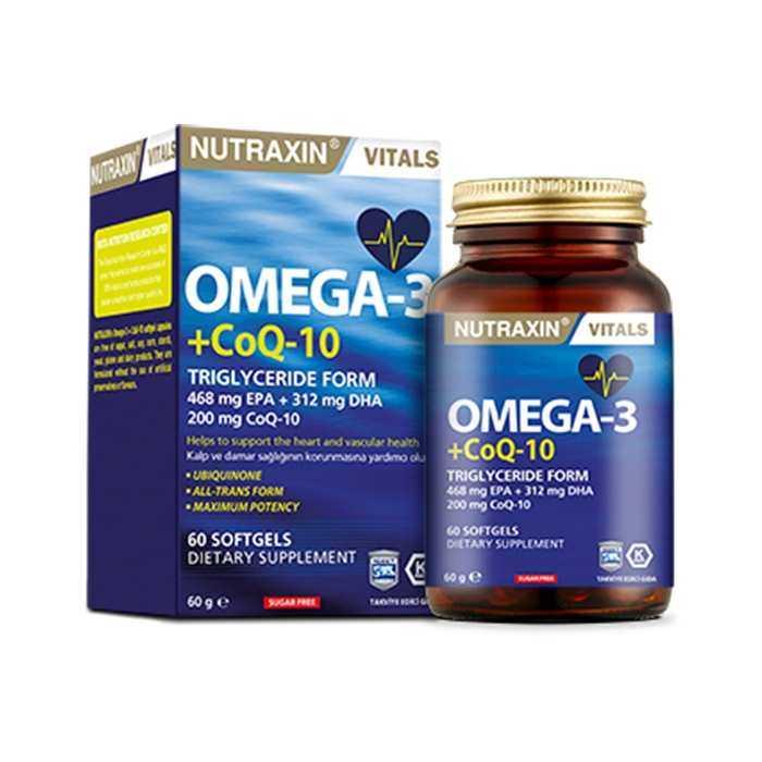 Nutraxin Vitals Omega-3 + Co-Q10 60 Softgel