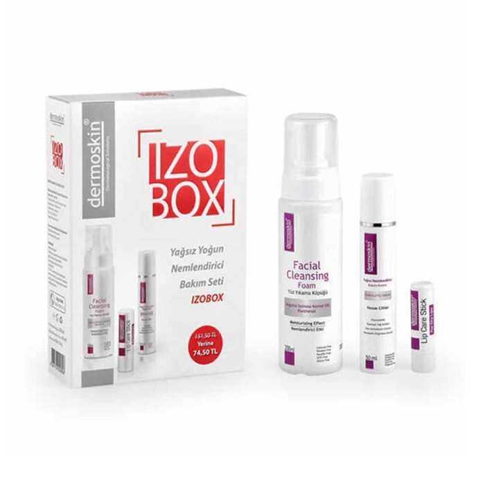 Dermoskin İzobox Yağsız & Yoğun Bakım Seti - Nemlendirici Krem 50 ml + Yüz Yıkama Köpüğü 200 ml + Lip Care Stic
