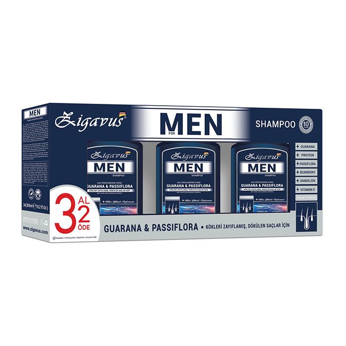 Zigavus For Men Guarana & Passiflora Şampuan 300 ml - 3 Al 2 Öde