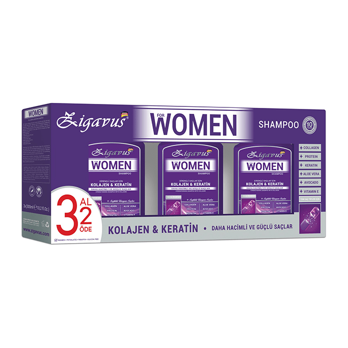 Zigavus For Women Kolajen & Keratin Şampuan 300 ml - 3 Al 2 Öde