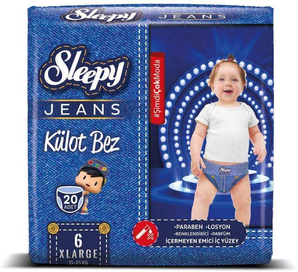 Sleepy Jeans Külot Çocuk Bezi, 6 Beden, XLarge, 20 Adet