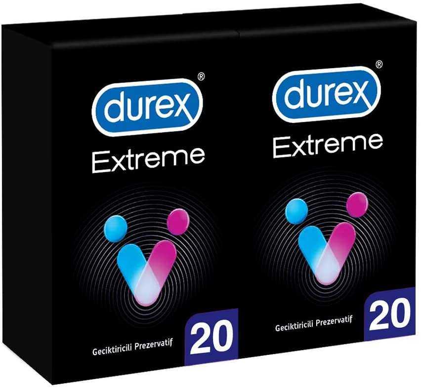 Durex Extreme Geciktiricili Prezervatif, 40'lı Ekonomik Avantaj Paket (2 x 20 Adet)